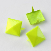 Fluorescence Yellow 3d Sqare Metal Cone DIY Studs Claw Rivet Nailhead Spots Leather Craft 100pcs