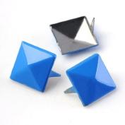 Blue 3d Sqare Metal Cone DIY Studs Claw Rivet Nailhead Spots Leather Craft 100pcs