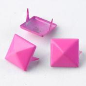Pink 3d Sqare Metal Cone DIY Studs Claw Rivet Nailhead Spots Leather Craft 100pcs