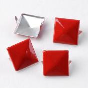 RED 3d Sqare Metal Cone DIY Studs Claw Rivet Nailhead Spots Leather Craft 100pcs