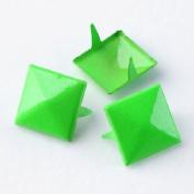 Fluorescence Green 3d Sqare Metal Cone DIY Studs Claw Rivet Nailhead Spots Leather Craft 100pcs