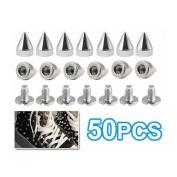 TOOGOO 50Pcs Metal Cone Screwback Spikes Stud Leather Cloth Craft DIY Goth Punk Spot