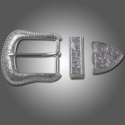 Springfield Leather Company's 3 Piece Sierra Buckle Set, Silver Plated 2.5cm - 1.3cm