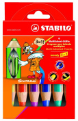 Stabilo Woody 3 in 1 Colouring Pencils - Wallet Of 6