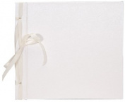 Books by Hand BBHK140-5 Ribbon Bound 20cm by 20cm Scrapbook, White
