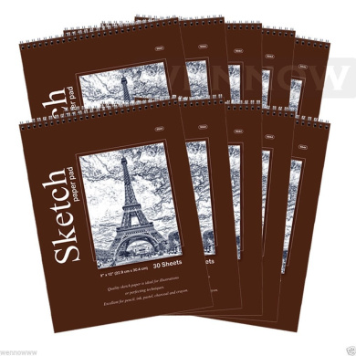 """Wennow 9"""" × 12"""" (22.8cm × 30.4 cm)30 Sheets Top Quality Sketch Book Paper Pad Set of 10"""