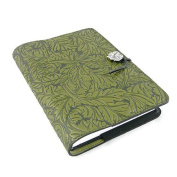 Acanthus Leaf Embossed Leather Writing Journal, 15cm x 23cm , refillable
