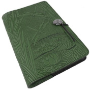 Dragonfly Pond Embossed Leather Writing Journal in Green, 15cm x 23cm , refillable