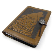 Howling Wolf Embossed Leather Writing Journal, 15cm x 23cm , refillable