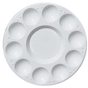 TOOGOO(R) 10-Well Round Professional Strong & Light Plastic Paint Palette Tray-White