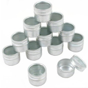 12 Glass Top Bead Jars Beading Eyelets Containers 24mm