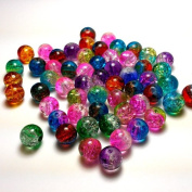 "Moxx 2-tone 8mm Round Crackle Lampwork Glass Beads Mixed Colours ""Rainbow"""
