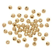 22K Gold Plated 4mm Round Metal Beads