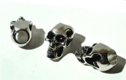 1 Metal Chrome Skull Bead For 550 Paracord Bracelets, Lanyards, & Other Projects