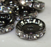 12mm Rhinestone Disc Beads Silver 20pcs