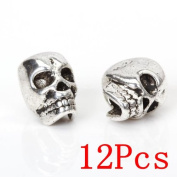 Set of 12pcs Tibet Silver Skull Spacer Beads DIY for Bracelets,Necklace,Earrings Making By iBUY365