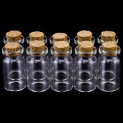eCrafty EC-4972 10-Pack Mini Glass Bottles Cork Tops Message Weddings Wish Jewellery Party Favours, 2.5cm