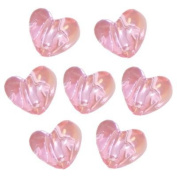 Pink Transparent Heart Pony Bead 65 Pieces