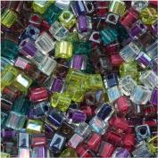 Miyuki 4mm Glass Cube Beads Colour Mix Lavender Garden 10 Grammes