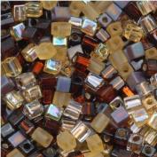 Miyuki 4mm Glass Cube Beads Colour Mix Wheatberry Browns Ambers 10 Grammes