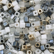 Miyuki 4mm Glass Cube Beads Colour Mix Apparition Grey Ghost 10 Grammes