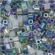 Miyuki 4mm Glass Cube Beads Colour Mix Serenity Greens Purples 10 Grammes