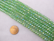 Glass Crystal Beads Green Colour Faceted Rondelle Shape 4x6mm 63pcs 12''per Stand