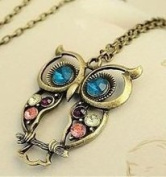 Vintage, Retro Colourful Crystal Owl Pendant and Chain with Antiqued Bronze/Brass Finish