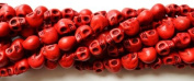 10 Red Howlite Skull Beads (Loose) - Day of the Dead (Dia De Los Muertos) - Goth