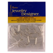 1.3cm . Silver Lined Glass Bugle Beads, Silver, 20 Gramme/Pkg