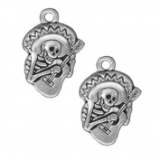Silver Plated Pewter Dia De Los Muertos Guitaro Pendant Charm 24mm