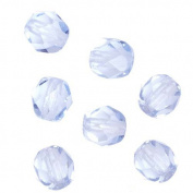Czech Fire Polish Glass Beads 6mm Round LIGHT SAPPHIRE Blue