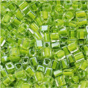 Miyuki 4mm Glass Cube Beads Lime Green Lined Crystal #245 10 Grammes