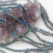 120 Pcs Chinese Crystal Glass Loose Beads Faceted Bicone 4mm Loose Spacer Smoky with Blue Purple