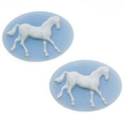 Vintage Style Lucite Oval Cameo Blue With White Horse 25 x 18mm