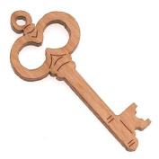 Cherry Wood Laser Cut Skeleton Key Pointing Right Pendant 3.8cm