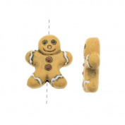 Painted Ceramic Bead - Holiday Gingerbread Cookie 12.5x14.5