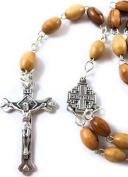 Olive Wood Beads Rosary Pewter Crucifix Jesus Cross - mediaeval STYLE ROSARY
