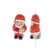 Painted Ceramic Bead - Mini Holiday Santa Clause 8.5x15mm