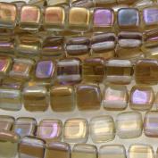 Czechmate 6mm Square Glass Czech Two Hole Tile Bead - Twilight Alexandrite
