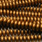 Czechmate 6mm Lentil Glass Czech Two Hole Bead - Matte Metallic Goldenrod