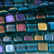 Czechmate 6mm Square Glass Czech Two Hole Tile Bead - Twilight Teal