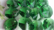 14mm Green Octagon Chandelier Crystals Prism Beads Glass Pack of 12