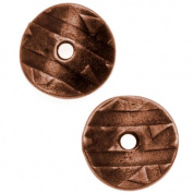 Antiqued Copper Plated Curved Spacer Disc Bead 10mm