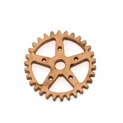 Cherry Wood Laser Cut Steampunk 5 Point Star Gear Pendant Component 1.9cm