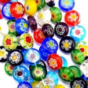 Millefiori Glass Beads Coins 10mm Rainbow Mix 35pc Single Flowers