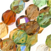Czech Fire Polish Glass Beads 6mm Round Earthtones Green Brown Amber Mix