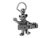 Sterling Silver Bear holding North Pole Charm