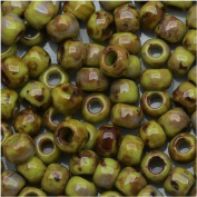 Toho Round Seed Beads 6/0 #Y310 - Hybrid Sour Apple Picasso