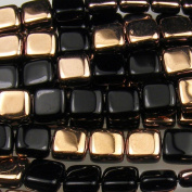 Czechmate 6mm Square Glass Czech Two Hole Tile Bead - Black Apollo